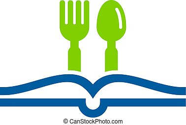logo, restaurant, livre, conception, icône