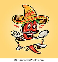 Logo Restaurant Mexican Red Hot Chili Pepper with Banner Mascot