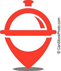logo, restaurant, vecteur, emplacement, icône