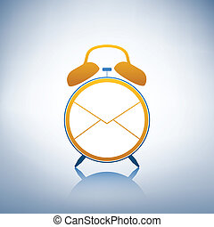 logo, reveil, enveloppe, horloge