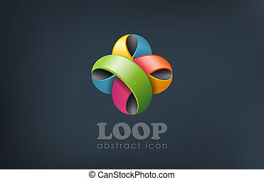 Flower abstract looped logo design template. Fun, event, celebrate icon. Colorful loop creative symbol.