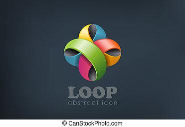 Logo ribbon flower abstract loop shape. Fun, event, celebrate.