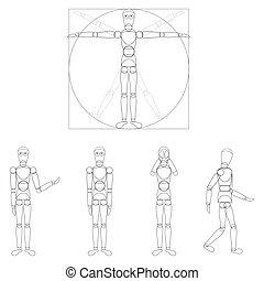 Logo - robotics - The Vitruvian Man - Da Vinci, vector...