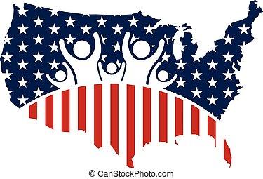 logo, rodzina, ludzie