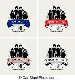 logo, rodzina wartość, design.