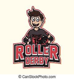 logo, rolle, abbildung, derby