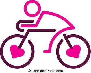 logo, rower, projektować, miłość, ikona