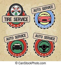 logo, sätta, illustration., service, bil, -, vektor