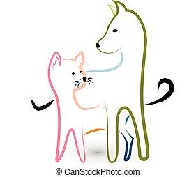 logo, säumen art, hund, katz