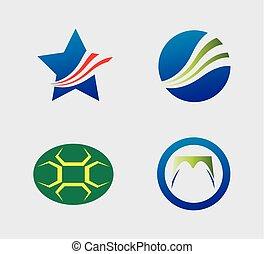 logo, sæt, iconerne