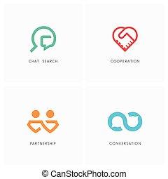 logo, sæt, samarbejde