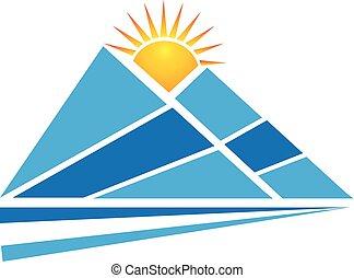 logo, słońce, góry