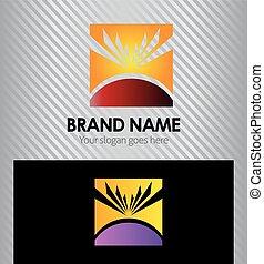 logo, słońce, skwer, lato