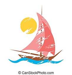 Logo Yachts with scarlet sails in the sea.
