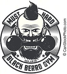 logo, sala gimnastyczna, szablon
