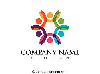 logo, samfund, skabelon, omsorg