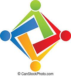 logo, sammenhænge, hold, selskab, folk