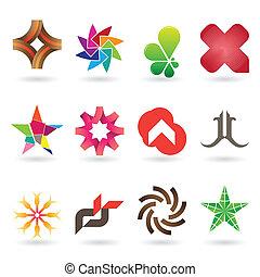 logo, samtidig, samling, ikon
