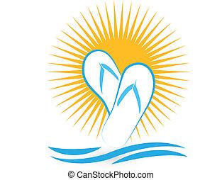 logo, sandaal, strand, pictogram