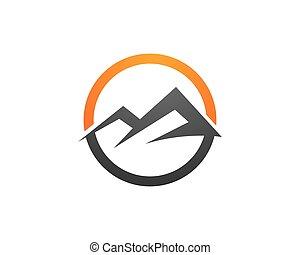 logo, schablone, berge