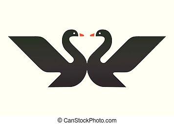 logo, schwan, schwarz, zwei