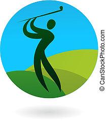 logo, schwingen, golfen, /, ikone
