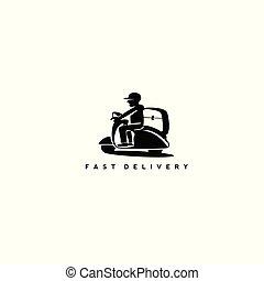 logo, scooter, ontwerp, minimaal, man