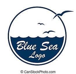 Logo sea with birds.