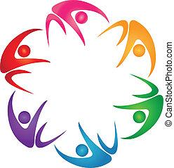 logo, sechs, gruppe, gefärbt, leute
