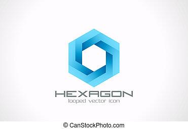 logo, sekskant, abstract., teknologi branche, videnskab, theme.