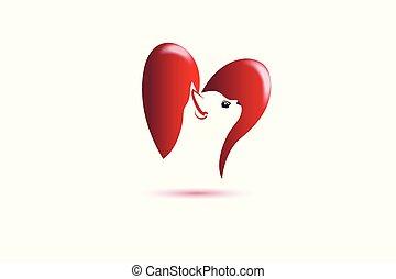 logo, serce, miłość, kot