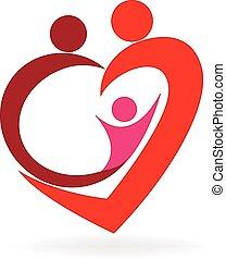 logo, serce, miłość, rodzina