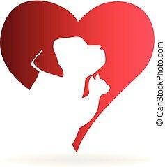 logo, serce, pies, kot