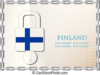 logo, serrure, drapeau, fait, finlande