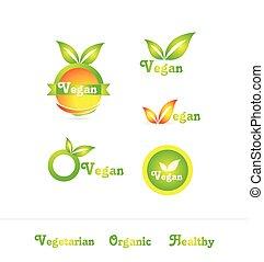 logo, set, badge, vegan, pictogram