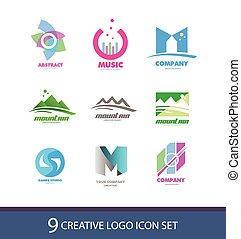 logo, set, creatief, pictogram