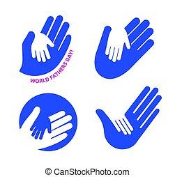 logo, set., famille, père, main, day., vecteur, adulte, enfant avoirs, soin, mondiale, enfants, gentillesse, symbole, parents.