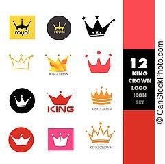 logo, set, kroon, pictogram