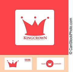 logo, set, kroon, rood, pictogram