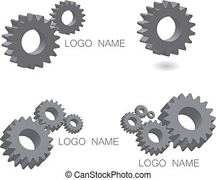 Logo set mechanical cogwheel in 3D