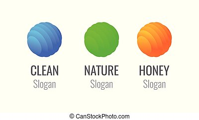 Logo set of Colorful Spheres - Honey farm or Store, Nature eco company and Logo for Cleanup Service or Institution.