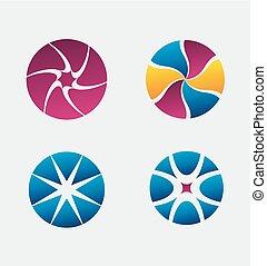 logo, set, ronde, pictogram, element