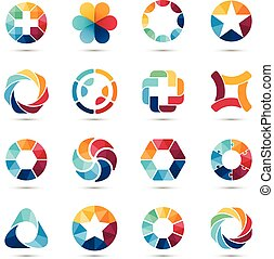 logo, set., symbols., cirkel, tekens & borden