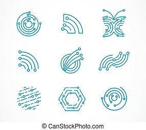 Logo set - technology, tech icons and symbols