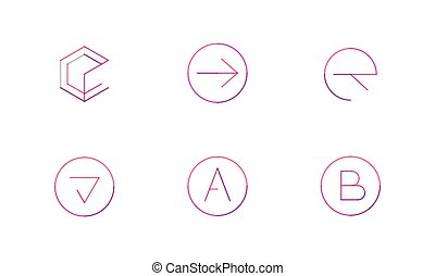 Logo set, thin line clean style - Logo set thin line clean...