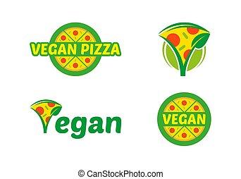 logo, set, vegan, pizza