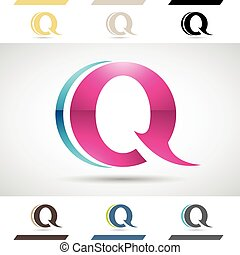 Design Concept of Colorful Stock Logos Icons and Shapes of Letter Q, Vector Illustration