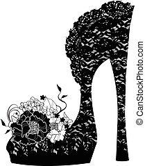 Logo shoe store, shop, fashion - stylized female shoes on a...