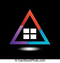 Logo showing growing real estate market in different colors