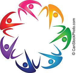 logo, siódemka, grupa, barwny, ludzie